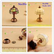 1:12 Dollhouse Accessories Mini Table/Desk Lamp Tiffany LED Light